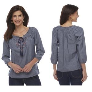 Basic Editions Women's Chambray Peasant Top